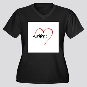 Adopt Women's Plus Size V-Neck Dark T-Shirt