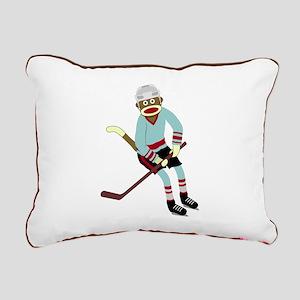 Sock Monkey Ice Hockey Player Canvas Pillow