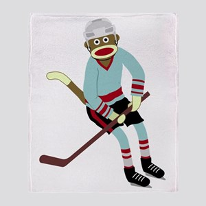 Sock Monkey Ice Hockey Player Throw Blanket