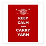 Keep Calm Carry Yarn Square Car Magnet 3