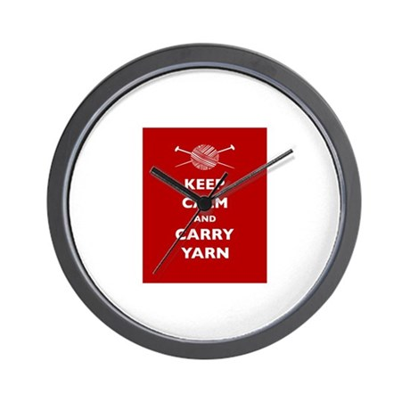 Keep Calm Carry Yarn Wall Clock