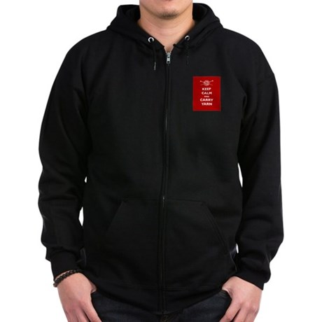 Keep Calm Carry Yarn Zip Hoodie (dark)