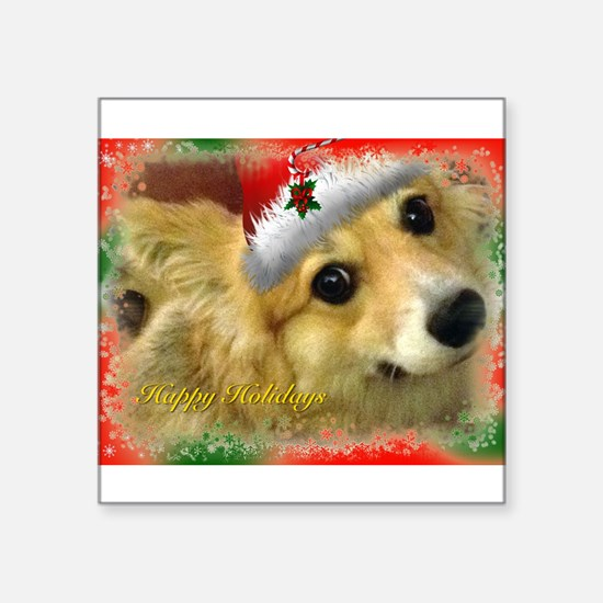 """I support Rescue- Happy Holidays Square Sticker 3"""""""
