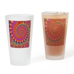 Psychedelic Pink Fractal Art Drinking Glass