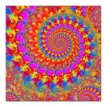 Psychedelic Pink Fractal Art Square Car Magnet 3