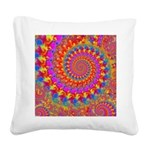 Psychedelic Pink Fractal Art Square Canvas Pillow