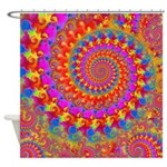 Psychedelic Pink Fractal Art Shower Curtain