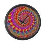 Psychedelic Pink Fractal Art Large Wall Clock
