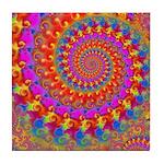 Psychedelic Pink Fractal Art Tile Coaster