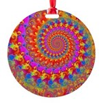 Psychedelic Pink Fractal Art Round Ornament