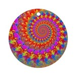 Psychedelic Pink Fractal Art Ornament (Round)
