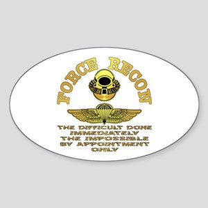 Force Recon The Difficult Sticker (Oval)
