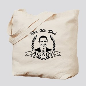 Obama Yes We Did Again V2 BW Tote Bag