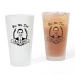 Obama Yes We Did Again V2 BW Drinking Glass