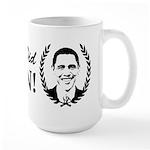 Obama Yes We Did Again V2 BW Large Mug