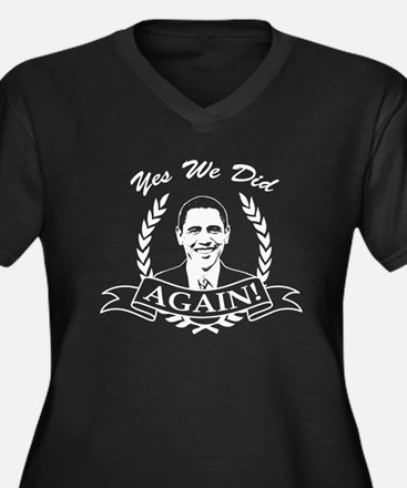 Obama Yes We Did Again V2 BW Women's Plus Size V-N
