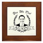 Obama Yes We Did Again V2 BW Framed Tile