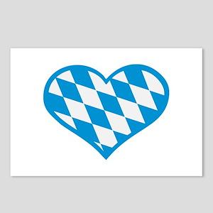 Bavaria flag heart Postcards (Package of 8)