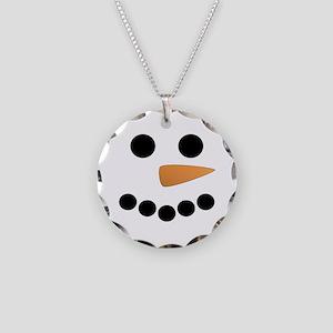 Snowman Face Necklace Circle Charm