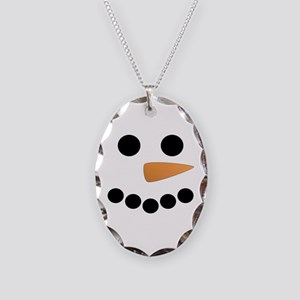 Snowman Face Necklace Oval Charm