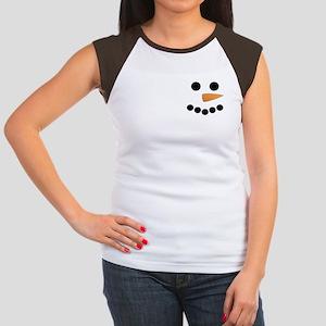 Snowman Face Women's Cap Sleeve T-Shirt
