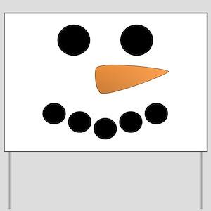 Snowman Face Yard Sign
