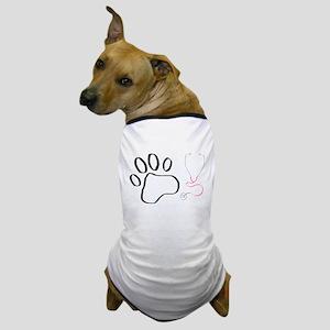 Vet Tech Paw Print + Stethoscope Dog T-Shirt