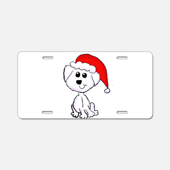 Christmas Yorkie Aluminum License Plate
