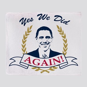 Obama Yes We Did Again V2 Color Throw Blanket