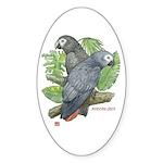Tropical Greys Oval Sticker