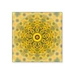 Yellow Sunflower Fractal Pattern Square Sticker 3