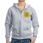 Yellow Sunflower Fractal Women's Zip Hoodie