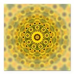Yellow Sunflower Fractal Pattern Square Car Magnet