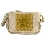 Yellow Sunflower Fractal Pattern Messenger Bag