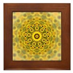 Yellow Sunflower Fractal Pattern Framed Tile