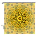 Yellow Sunflower Fractal Pattern Shower Curtain