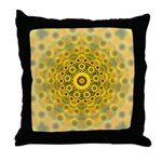 Yellow Sunflower Fractal Pattern Throw Pillow