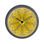 Yellow Sunflower Fractal Pattern Wall Clock