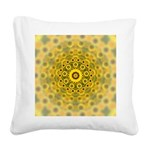 Yellow Sunflower Fractal Square Canvas Pillow