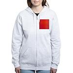 Red Retro Squares Pattern Women's Zip Hoodie
