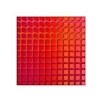 Red Retro Squares Pattern Square Sticker 3