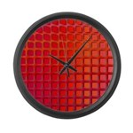 Red Retro Squares Pattern Large Wall Clock