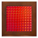 Red Retro Squares Pattern Framed Tile