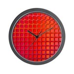Red Retro Squares Pattern Wall Clock