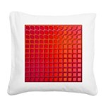 Red Retro Squares Pattern Square Canvas Pillow