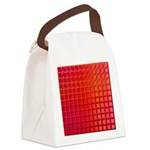 Red Retro Squares Pattern Canvas Lunch Bag