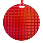 Red Retro Squares Pattern Round Ornament