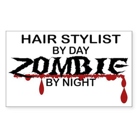 Hair Stylist by Day Zombie by Night Sticker (Recta