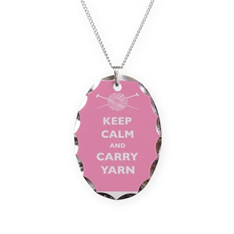 Keep Calm Carry Yarn Necklace Oval Charm