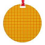Orange Gingham Round Ornament
